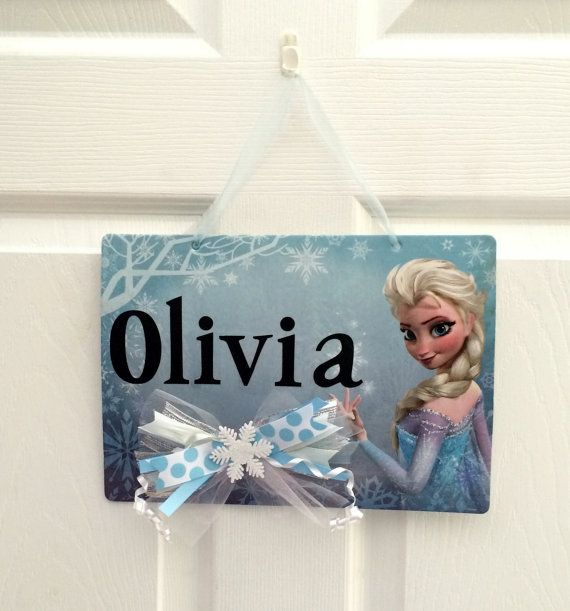 Frozen room decoration. Frozen sign personalized with with custom name or message. Add your own custom message or a name to this Frozen sign.