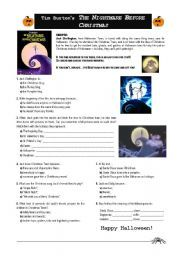Nightmare Before Christmas Worksheet