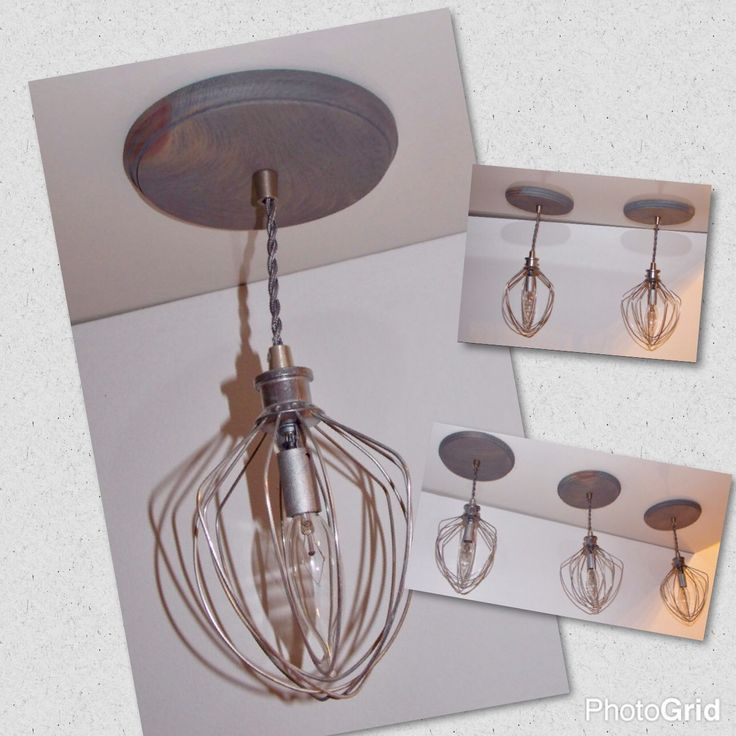 Check and Like us on Facebook 👍😊  https://m.facebook.com/IWantThattt  This listing is for two whisk pendant lights.  Let this unique pendant light bring a modern , industrial style to your home! It will look great in your kitchen , breakfast area, or above your island or sink.   These handmade pendants are made out of new unused wire whips attached to a wooden base. The electrical components are high quality UL Recognized Components. The pendant itself is not UL approved. This light is a…