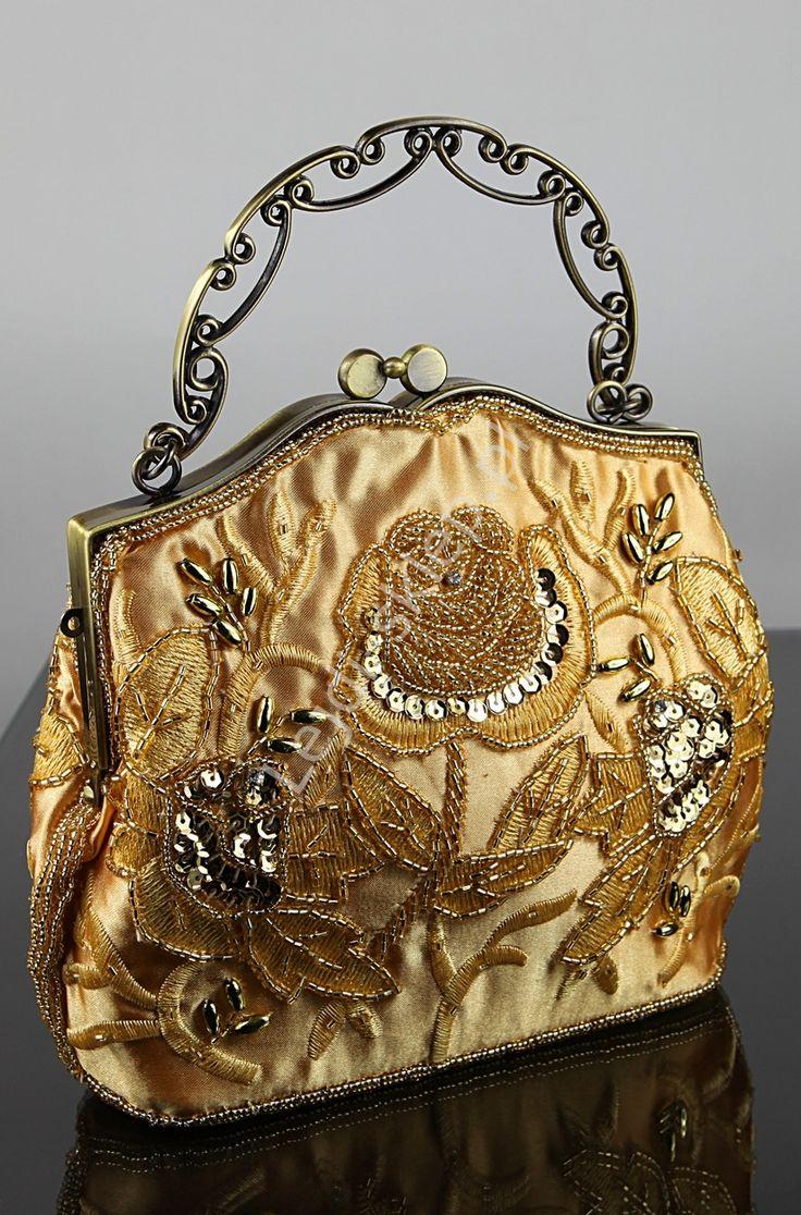 Złota torebka vintage z koralikami, hand made w stylu barokowym | torebki wieczorowe