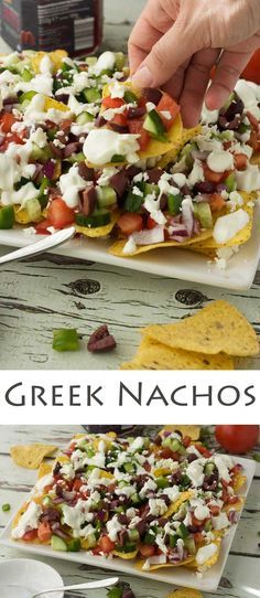 Greek nachos I would use red, yellow or orange pepper #greenpepperkillsme