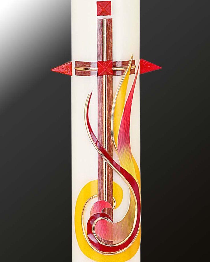 Osterkerze 800/80 mm, Kreuz und Flamme