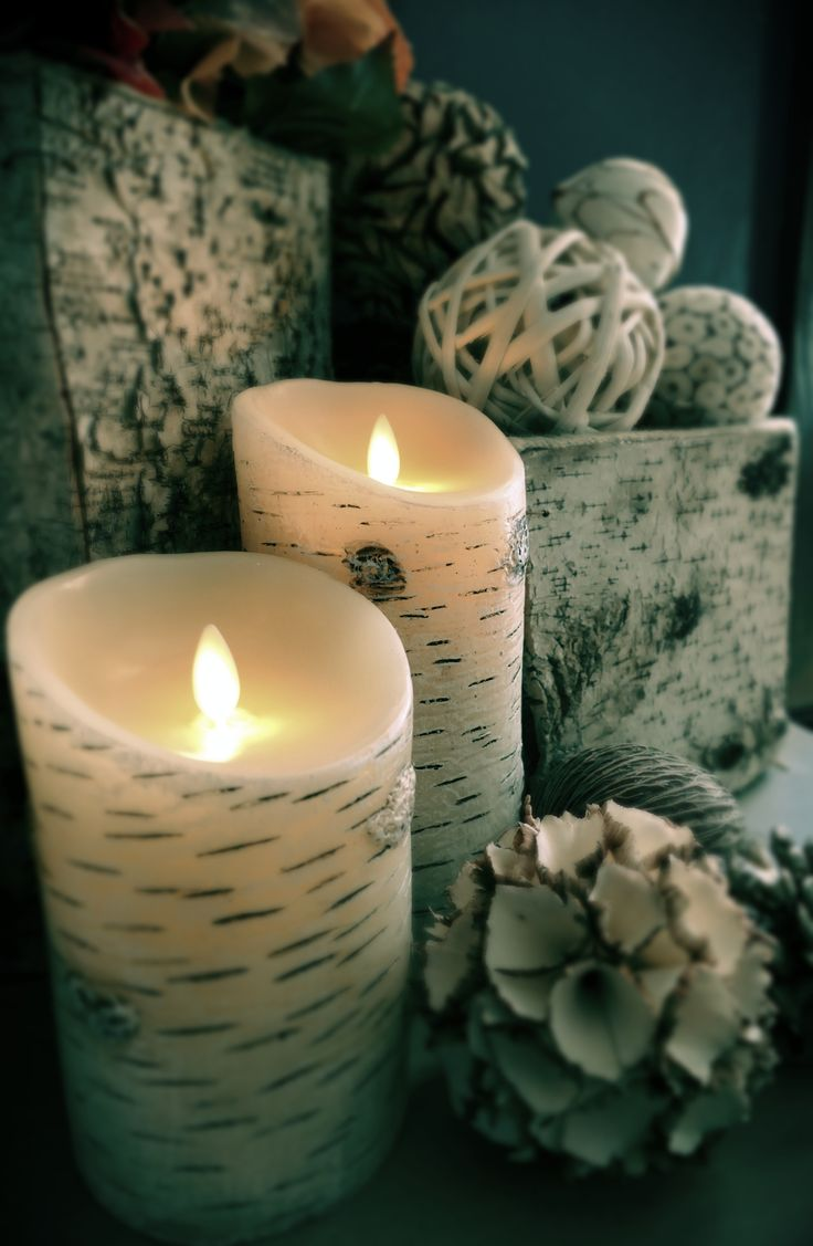 birch bark flameless candles by Luminara