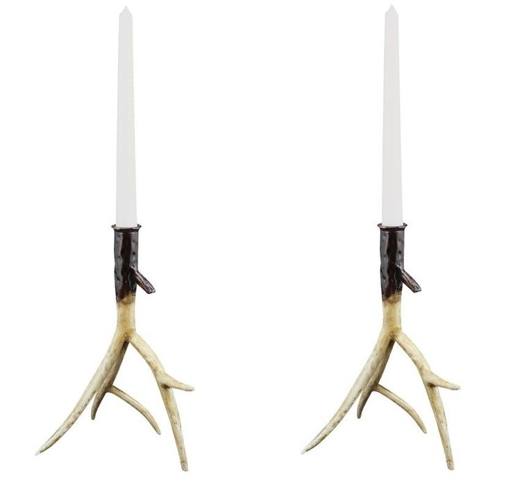 Pair of Metal Antler Candle Holders - 24cm - unique rustic home decor