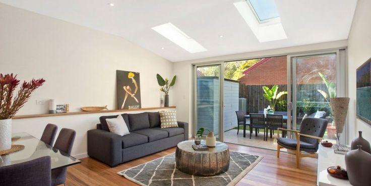 Freestanding home, Caeserstone kitchen, blackbutt flooring, velux skylights, sunny private landscaped court garden