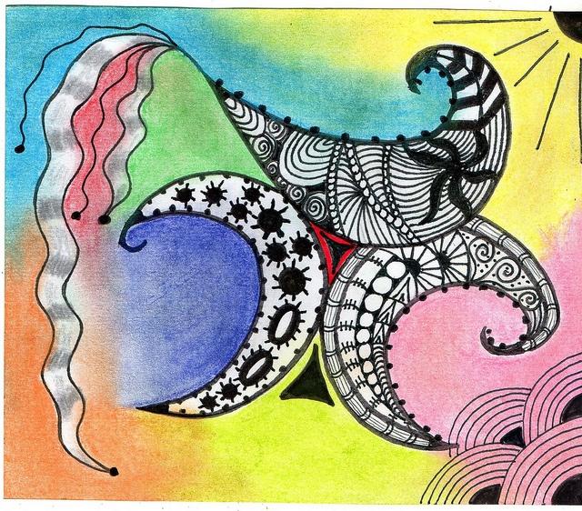 Zentangle Art watercolor