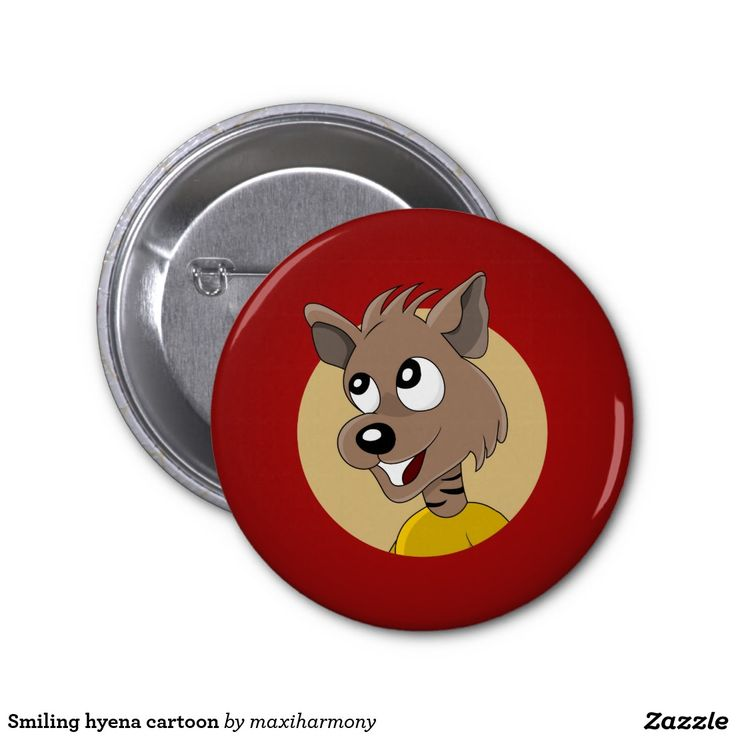 Smiling hyena cartoon 2 inch round button