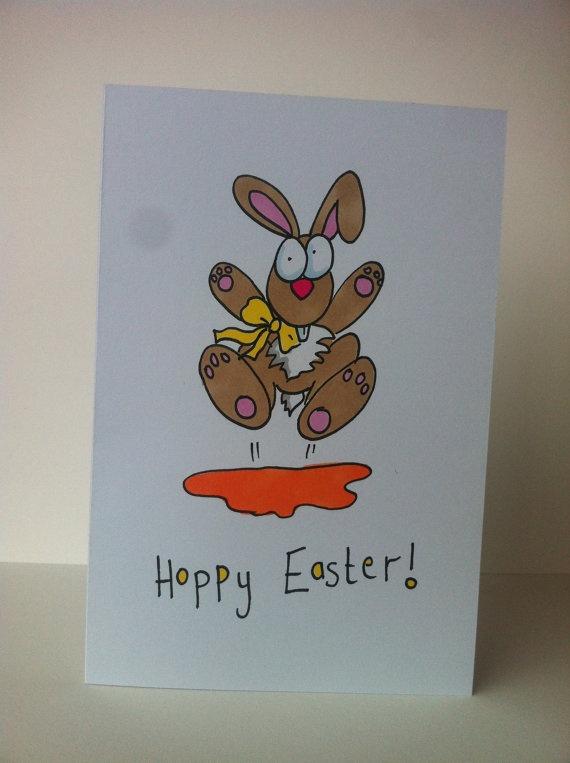 Happy Easter card hoppy Easter Easter bunny by karenflanart, €3.50