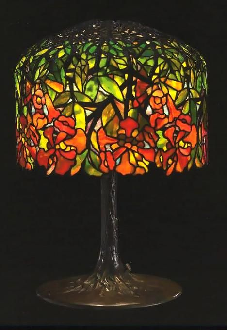 Tiffany Studios Leaded Stained Glass Shade, Cast Bronze Base Table Lamp