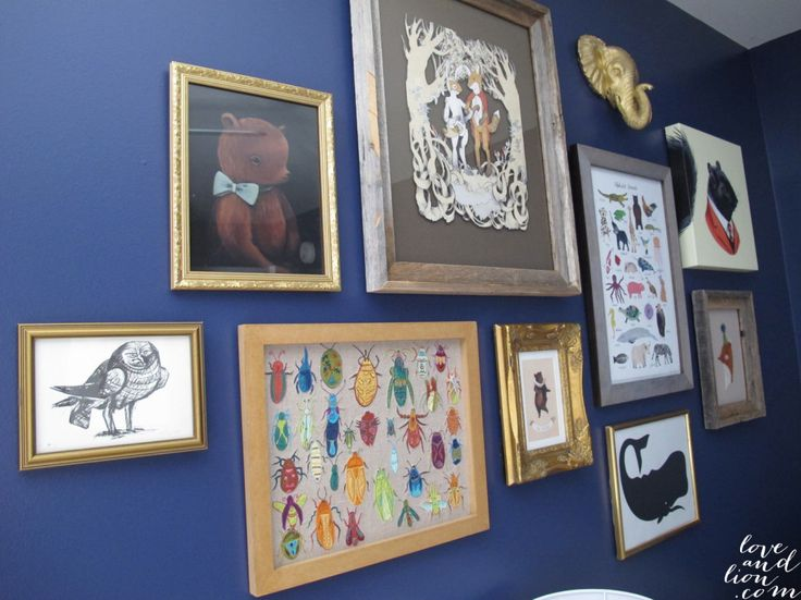 Gold framed nursery gallery wall inspiration.: Dining Room, Wall Color, Navy Wall, Boys Nursery, Frame Collage, Nursery Gallerywall, Nursery Gallery Wall, Collage Idea