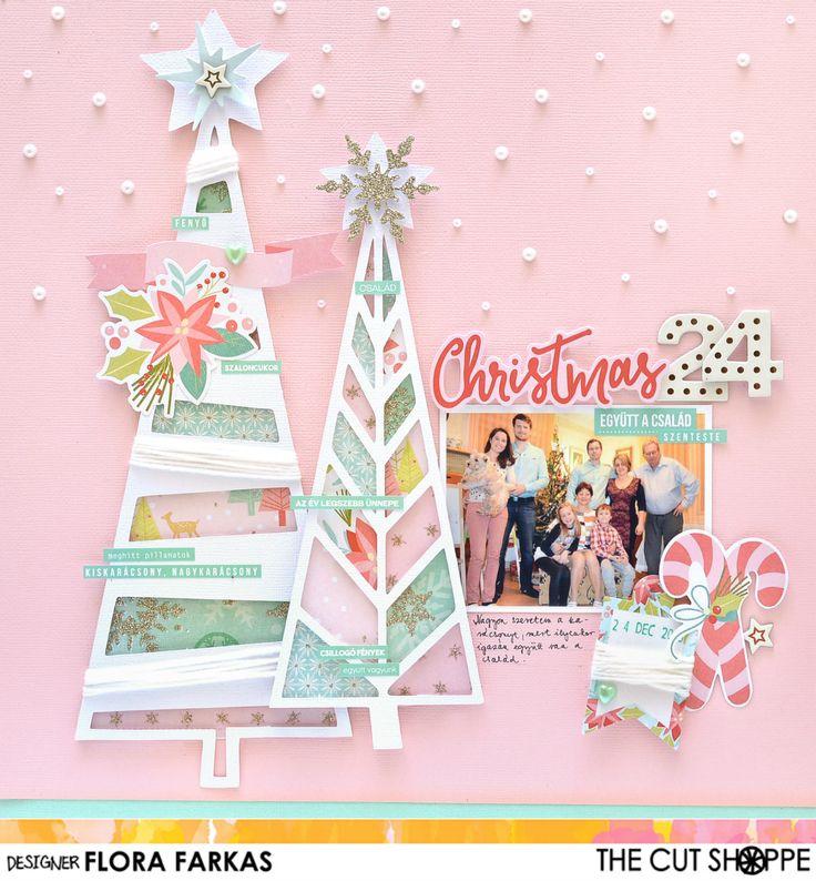 Pink Christmas layout made with Tree Farm cut file featuring My Mind's Eye Sugar Plum | Flora Monika Farkas #thecutshoppe #mymindseye