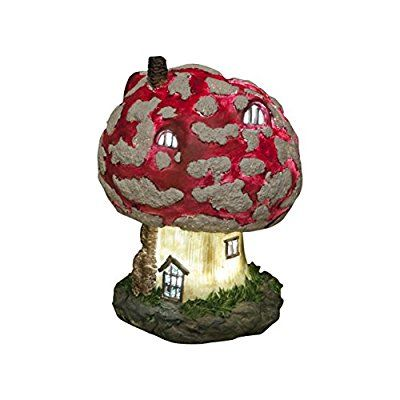 Mushroom Toadstool Fairy House - Solar Fairy House Lights Up At Dusk