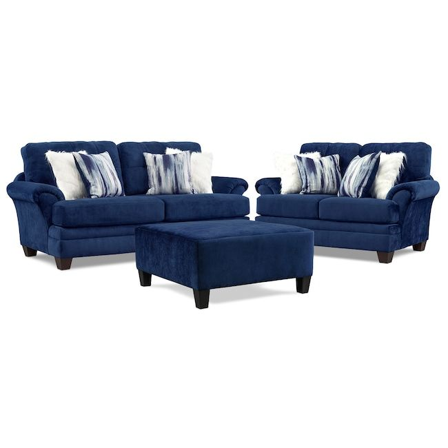 Cordelle Sofa Loveseat And Ottoman With Faux Fur Pillows Value
