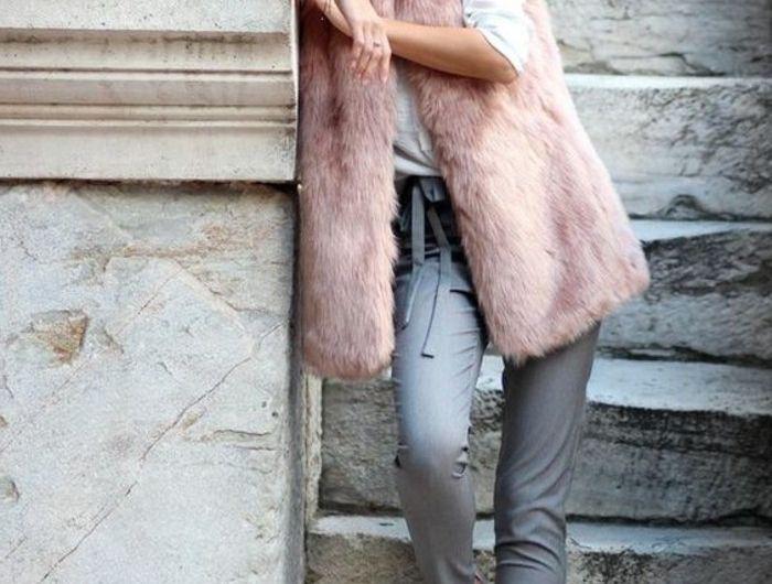 1-pantalon-elegant-gris-pantalon-officiel-gris-manteau-femme-fourrure-rose-sans-manches