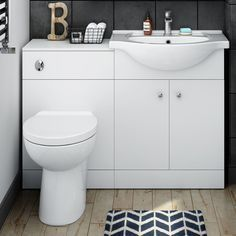 Modern Toilet and Sink Vanity Unit Bathroom Basin Furniture Matte White WC
