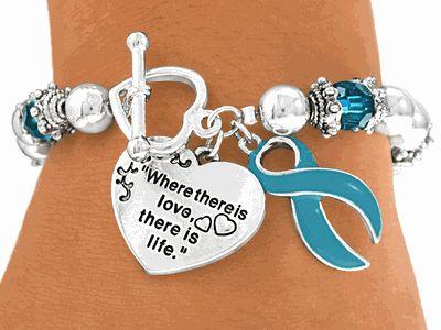 Teal Ovarian Cancer Bracelet Awareness Pinterest Bracelets And Pcos