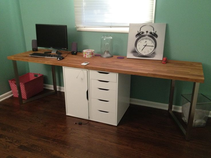 Two-Person Desk IKEA | Unintended design element – we had to turn the legs on an angle ...for the little ones to share