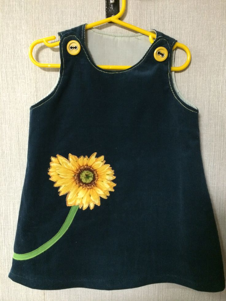 Dark teal corduroy jumper with beautiful sunflower applique. Size 2/3...$22