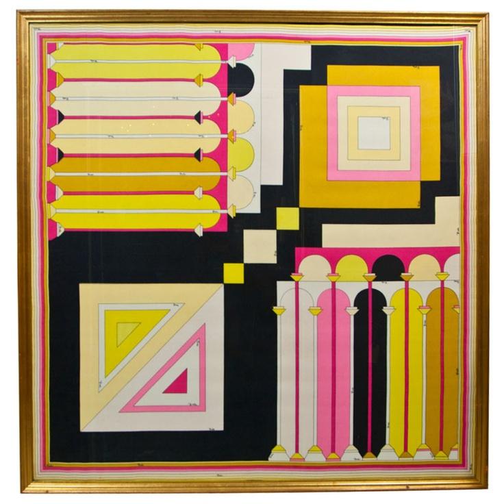1960s Emilio Pucci Framed Silk Scarf