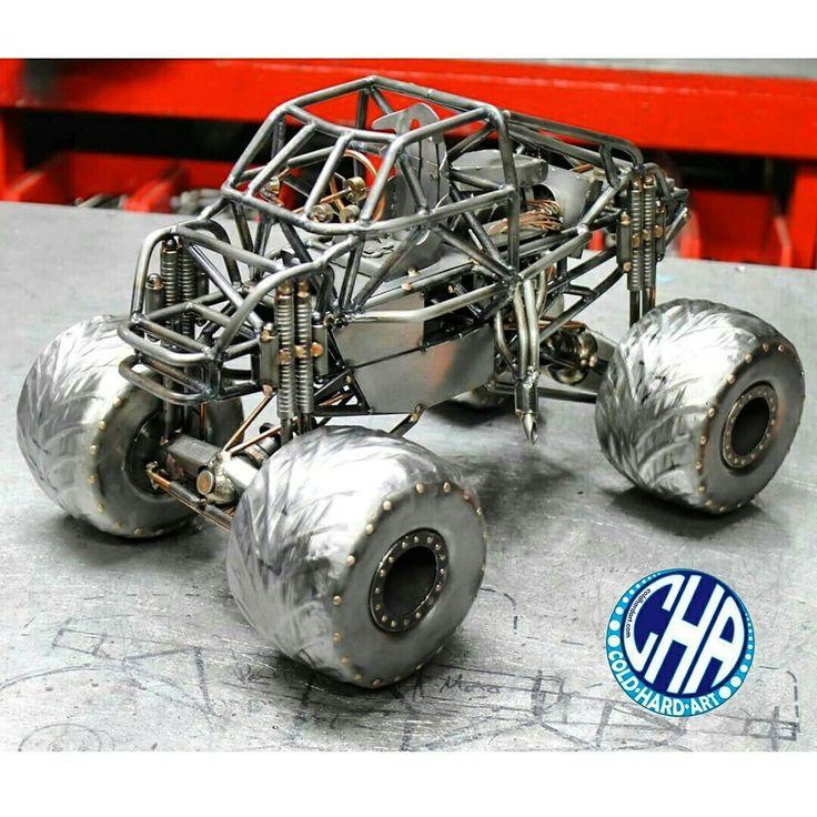 Monster truck chassis metal art