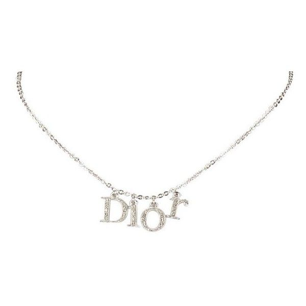 Pre-Owned Dior Rhinestone Logo Choker ($140) ❤ liked on Polyvore featuring jewelry, necklaces, accessories, chokers, accessories - jewelry, chain pendant necklace, initial pendant, pendant choker necklace, rhinestone necklace and rhinestone pendant