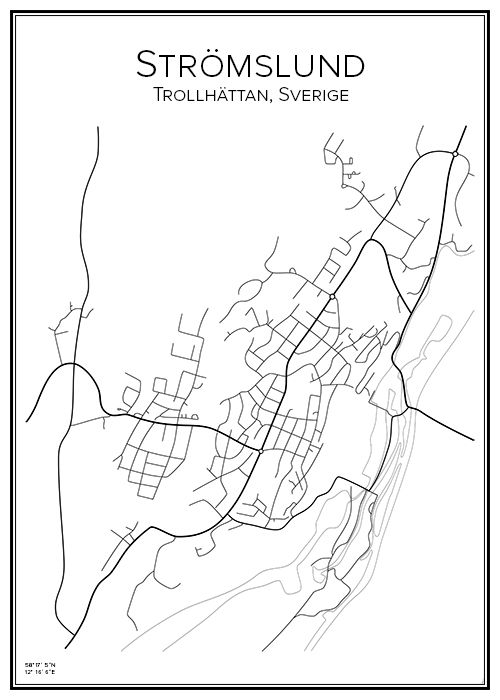 Strömslund. Trollhättan. Sverige. Map. City print. Print. Affisch. Tavla. Tryck. Stadskarta.