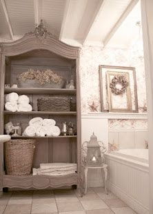 lovely, antique colors - french country cottage bathroom