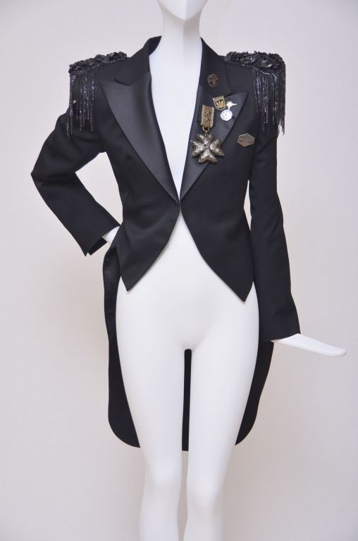 Balmain  Tuxedo Style Millitary Jacket With Embellishment | From a collection of rare vintage coats and outerwear at http://www.1stdibs.com/fashion/clothing/coats-outerwear/