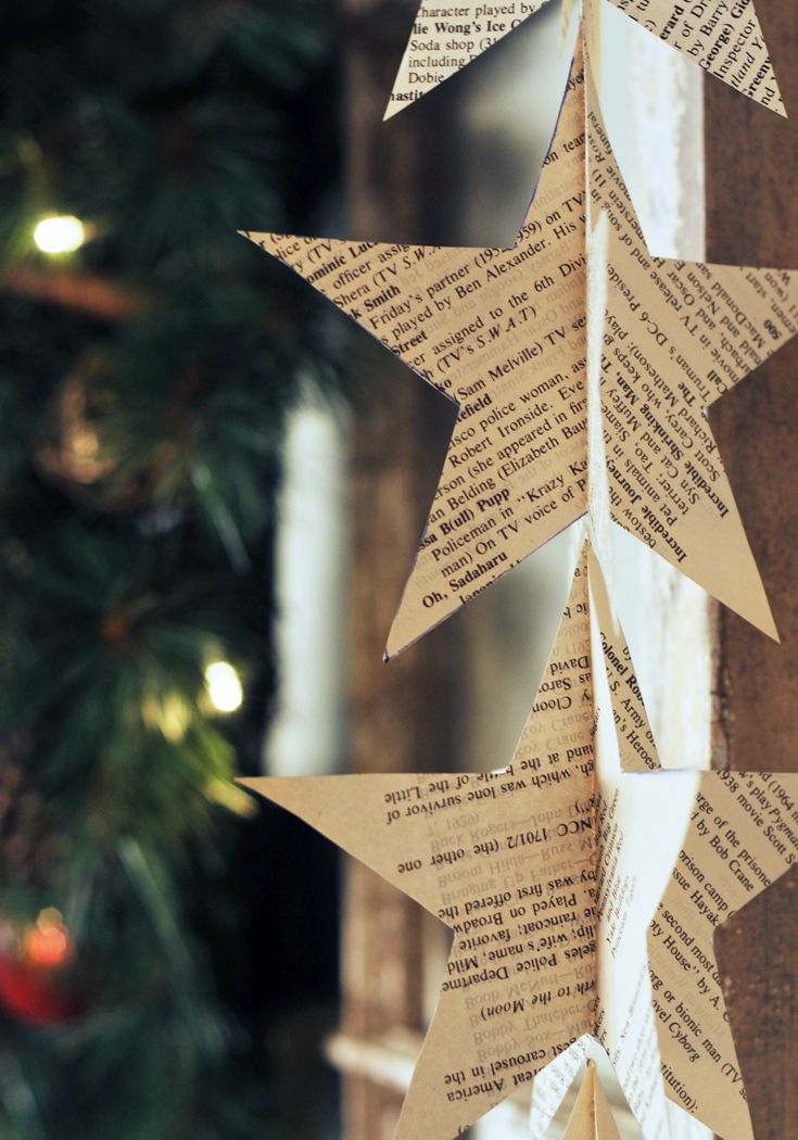 17 budget friendly diy christmas decorations - Book Page Decorations