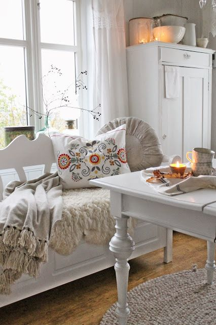VIBEKE DESIGN. I normally like lots of color but this is a beautiful white room. Looks so comfortable and relaxing.