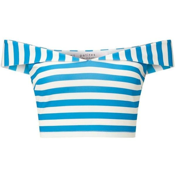 Miss Selfridge PETITE Stripe Bardot Top ($21) ❤ liked on Polyvore featuring tops, shirts, crop tops, ivory, petite, striped shirt, stripe crop top, striped top, summer tops and blue striped shirt