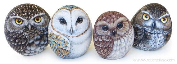 Original Hand Painted Tawny Owl Rock by RobertoRizzoArt on Etsy