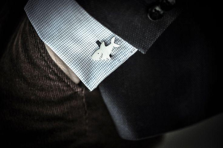 Shark cufflinks // handmade of sterling silver