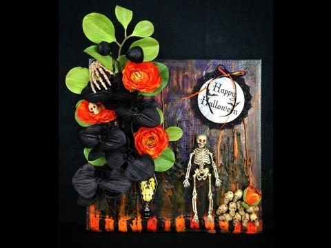 Mixed Media Melted Crayon Art Canvas - Happy Halloween...Created by Tracey Powell 2013