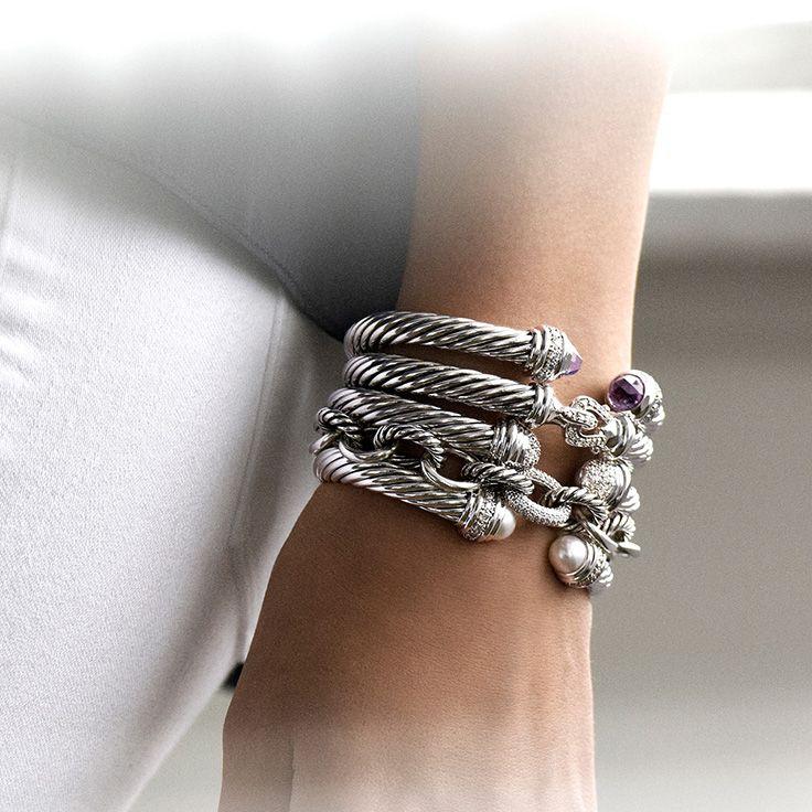 Stack signature sterling bracelets for a bolder look.