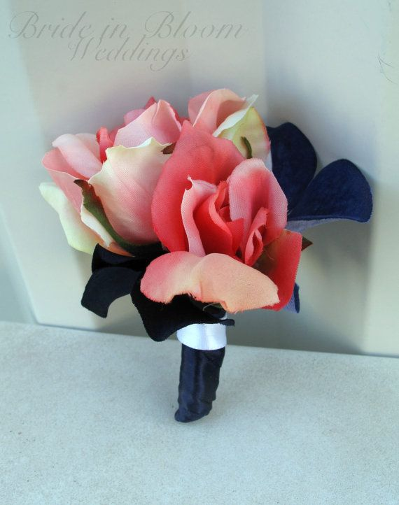 Coral rose Boutonniere Silk wedding boutonnieres coral, navy and white on Etsy, $12.00