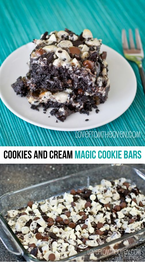Cookies And Cream Magic Cookie Bar Recipe. Magic cookie bars made with Oreos?  These are SO good and packed with chocolate!