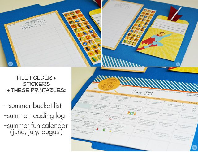 free printables for a super handy summer fun folder for kids :: summer calendars with activities, summer bucket list, and summer reading log with stickers...all in one file folder :) get your kids thinking a little bit more creatively this summer! | www.livecrafteat.com