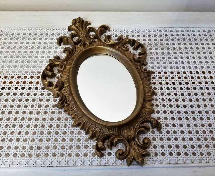"""Vintage Ornate Gold Wall Mirror by Burwood USA 9"""" x 14"""", Hollywood Regency Flourishes Fleur de Lis, Gallery Wall Decor by vintagenowandthen on Etsy https://www.etsy.com/listing/518643745/vintage-ornate-gold-wall-mirror-by"""