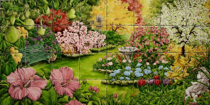 41 best images about wall paper murals and borders on Mural of flowers