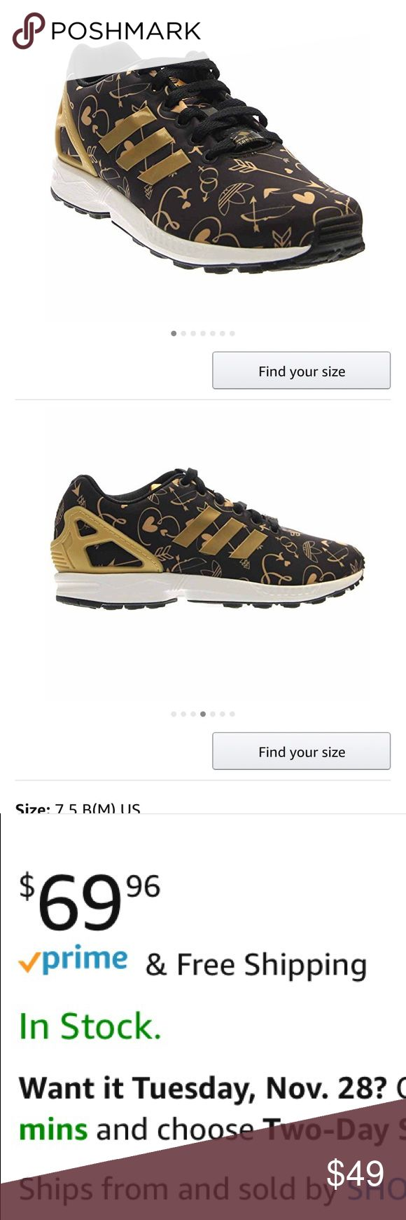 LIKE NEW! Adidas ZX Flux Black with Gold Hearts LIKE NEW- excellent condition, only worn 4 time. Clean, comfy, stylish.  Retail on Amazon for $69 adidas Shoes Athletic Shoes