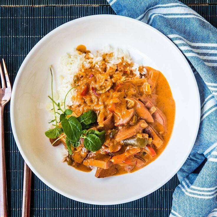 Lyxig korvstroganoff med chili och paprika