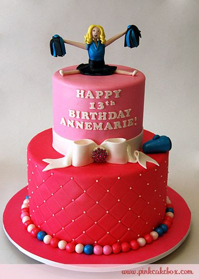Cheerleader Birthday Cake by Pink Cake Box in Denville, NJ.  More photos at http://blog.pinkcakebox.com/cheerleader-birthday-cake-2010-10-16.htm  #cakes
