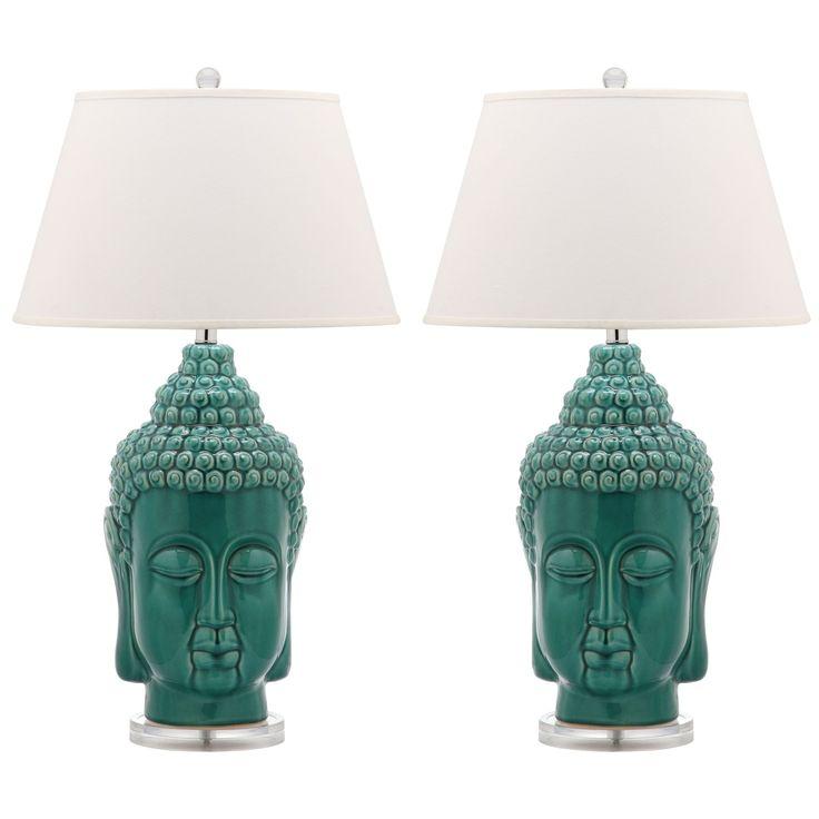 Safavieh Lighting 31-inch Serenity Teal Buddha Lamp