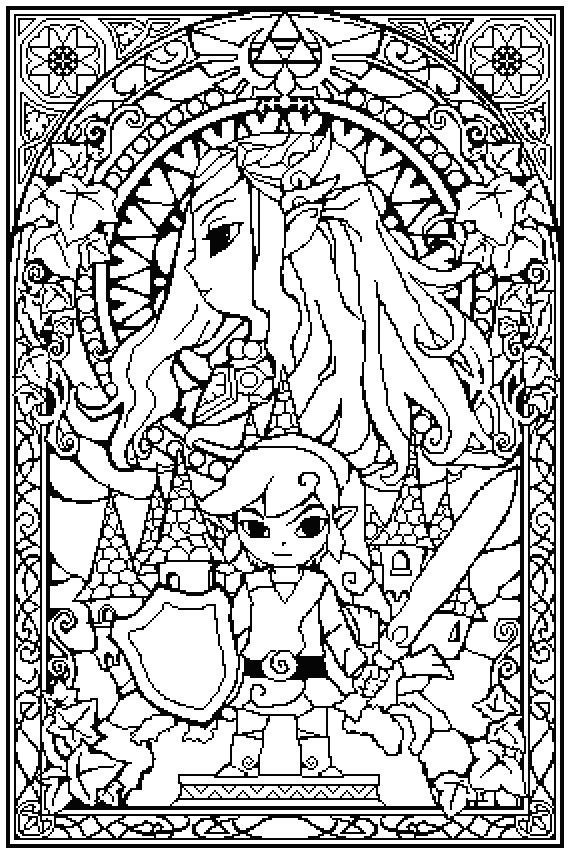 view topic zelda stained glass - Zelda Coloring Pages