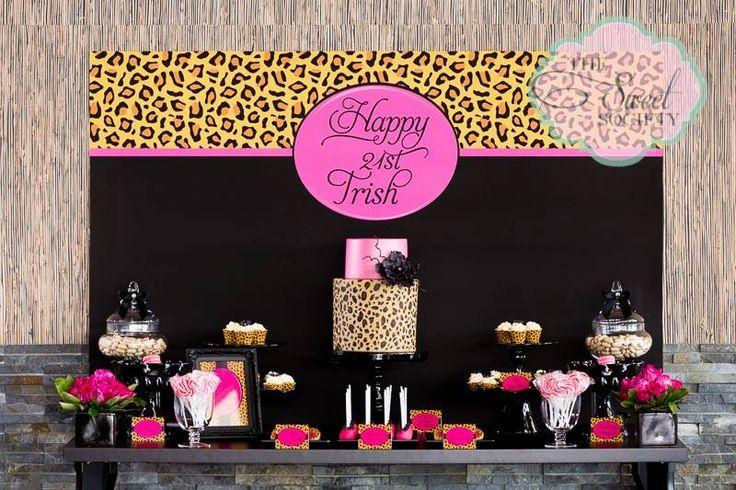 cheetah baby shower dessert table | Pink Leopard' 21st Birthday Party