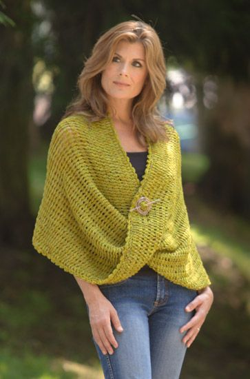 There is no mystery to this gorgeous wrap, just a simple twist. You work it as a rectangle, then create a Möbius strip by rotating one end 180 degrees before joining it to the other end.