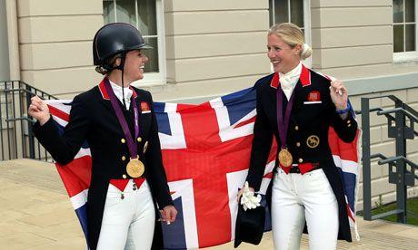 Great Britain's Charlotte Dujardin, left,  won gold, while her team-mate Laura Bechtolsheimer won bronze in the individual dressage
