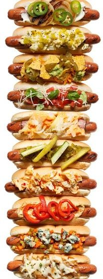 International Hot Dog Style: Hot Diggity, Hot Dog Bar, Hotdogs, Dog Toppings, Hot Dogs, 10 Twists, Hot Dog Recipes