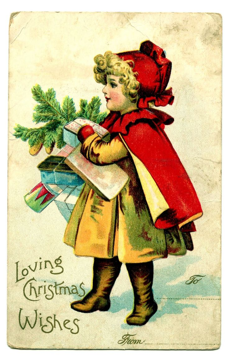 Free Vintage Clip Art – Red Riding Hood – Christmas